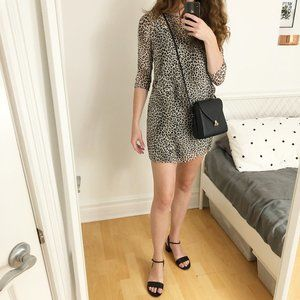 Stunning ba&sh Leopard Print Quarter Sleeve Dress